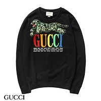 GUCCI New fashion multicolor letter print sequin tiger couple long sleeve top sweater Black