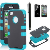 Pandamimi ULAK Black Hybrid High Impact Case Cover Blue Silicone for iPhone 4 4S with Screen protector and stylus:Amazon:Cell Phones & Accessories