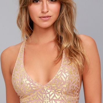 Free People Wonderland Gold and Pink Print Bralette