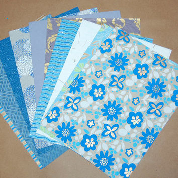 "Decorative Paper Pack - Blue and Gold Paper Set of 10 Printed, Embossed, Stamped and Glittered Paper Sheets; 8.5"" x 11""."