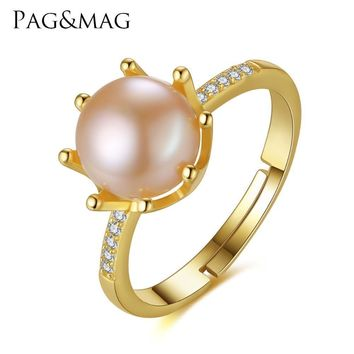 Women .925 Sterling Silver Pearl Wedding Ring With Gift Box