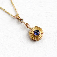 Antique 10k Yellow Gold Simulated Sapphire Edwardian Necklace - Vintage Lavalier Art Nouveau Fine Pendant Early 1900s Doublet Jewelry