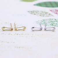 Tiny safety pin earrings with sterling silver post, silver or gold tone