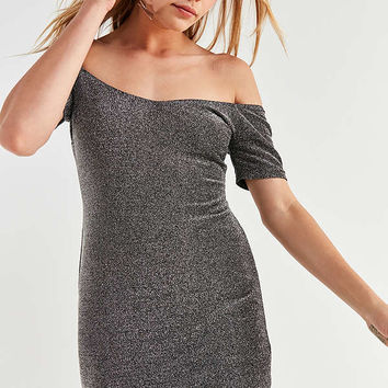 UO Shimmer Knit Off-The-Shoulder Mini Dress | Urban Outfitters