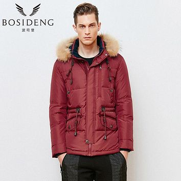 BOSIDENG 2017 men down coat regular top winter thick warm down jacket real raccoon fur high quality smart casual wear B1501075