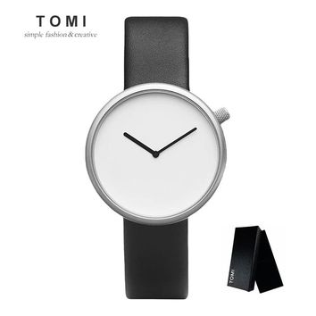 Minimalist Style Men Women Fashion Casual Couple Watches Quartz  Leather Wristwatch Waterproof Analog Clock