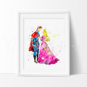 Princess Aurora & Prince Phillip 3 Watercolor Art Print