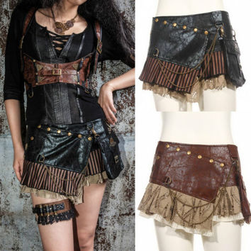 Gothic Steampunk RQ BL Gonna Corto Nero Marrone Similcuoio Pelle Minigonna
