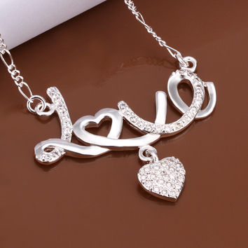 Love Heart Charm Silver Necklace
