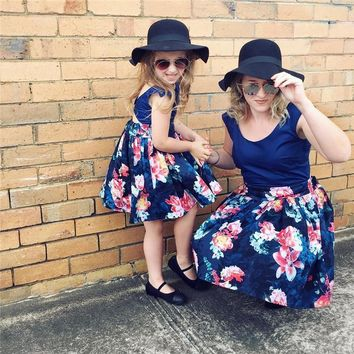 Matching navy mommy & me dress