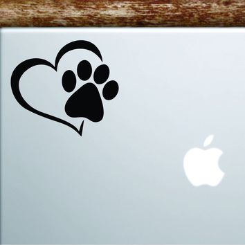 Dog Paw Heart V3 Laptop Wall Decal Sticker Vinyl Art Quote Macbook Apple Decor Car Window Truck Kids Baby Teen Inspirational Animals Puppy