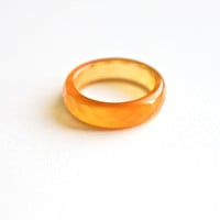 Natural Bright Orange Agate Band Ring 5mm. Stackable Gemstone Ring. Faceted Agate Ring. Natural Healing Agate Ring.