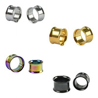 D&M Jewelry 4 Pairs Stainless Steel Double Twin Flare Flesh Tunnel Ear Plug Gauge 6g