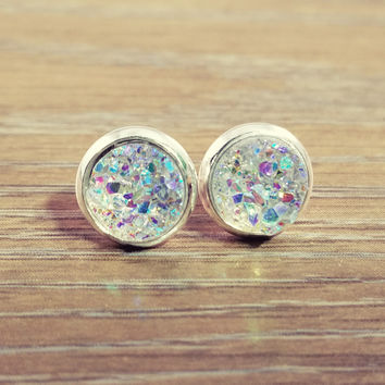 Tiny Druzy earrings- Rainbow clear drusy silver tone stud druzy earrings