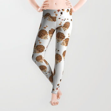Hedgehogs in autumn Leggings by VanessaGF