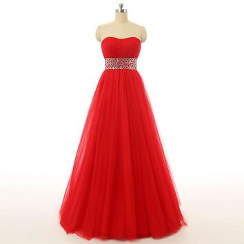 New Arrival Tulle Beads A Line Wedding Dress Strapless Zipper Sleeveless Floor Length Red Bridal Gowns