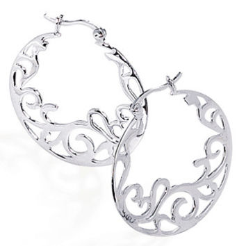 Rhodium Plated Fancy Cut Out Design Earrings