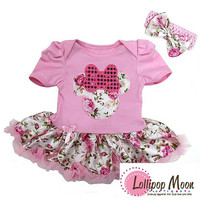 Baby Light Pink Rose Flower Minnie  Tutu Set - New Born Baby Tutu Set - Baby Shower Gifts