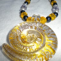 Solar Flares Yellow Blue Lavender and White Swarovski Pearl Necklace