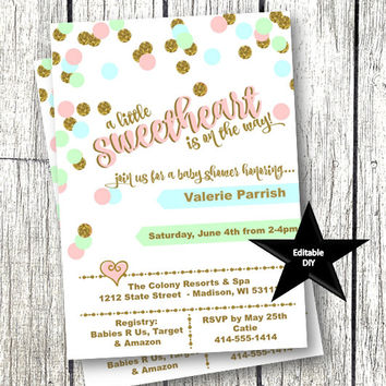 Sweetheart Invitation Baby Shower Valentines Day Invitation pink mint gold teal heart editable template printable instant download confetti