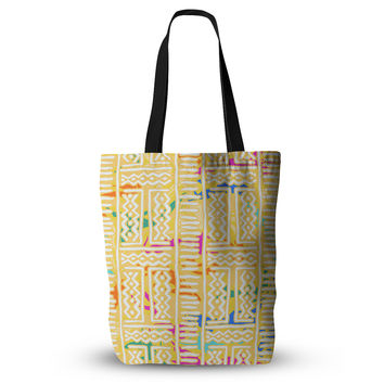 "Dan Sekanwagi ""Lines And Zigzags - Colorful"" Yellow Tribal Everything Tote Bag"