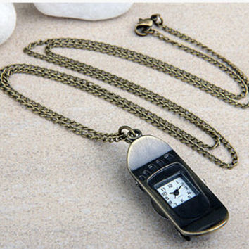 Bronze  skateboard shaped clock watch  necklace