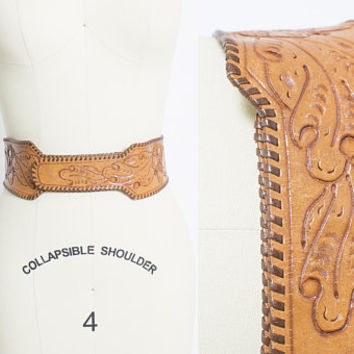 Vintage 1950s Belt - Tooled Leather Acorns Light Brown Western 50s - Small S