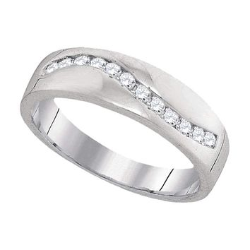 10k White Gold Round Diamond Channel-set Men's Lightweight Wedding Ring - FREE Shipping (US/CA)