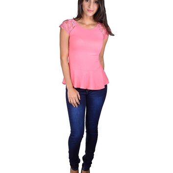 Solid Peplum Style Top with Stylish Sleeves