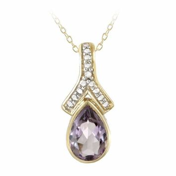 18K Gold over Sterling Silver Amethyst & Diamond Accent Teardrop Necklace