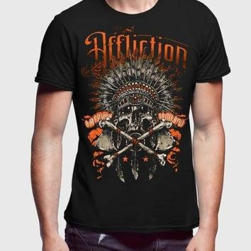 Affliction Skull Brown Half Sleeve Men Premium