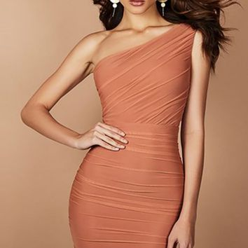 Soul Survivor Coral Sleeveless One Shoulder Ruched Bodycon Midi Dress