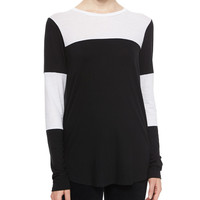 Long-Sleeve Colorblock Slub Tee, Size: