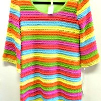 Uncle Frank Colorful Neon Stripe Dress with Ruffled Texture