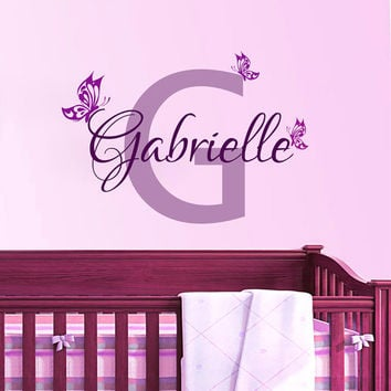 Wall Decals Personalized Name Decal Vinyl Sticker Butterfly Girl Baby Children Nursery Bedroom Room Decor Home Playroom Art Murals MN499