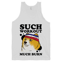Doge Workout on a White Tank Top, fitness, burnout, tank top, shirts, exercise, Gym Clothes, Workout Tank, Meme, American Apparel, funny