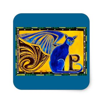 Winged Feline Hybrid Warrior Cat Design Square Sticker