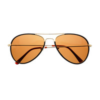 High Fashion Leather Wrapped Metal Aviator Sunglasses Shades A1200