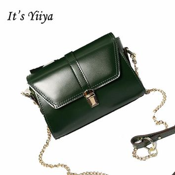 It's YiiYa Popular 3 Colors Women Genuine Leather HandBag Fashion Casual Chains High Quality Girls Messenger Bags SS836