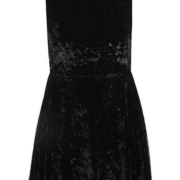 Low Back Velvet Skater Dress - New In