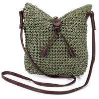 Woven Shoulder Bags Straw Summer Women Weave Crossbody Burlap Jute Pouches Beach Travel Handbag