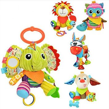 Elephant Fox Lion Owl Monkey animals Stuffed plush toys Baby Stroller Rattle toys dolls with teether juguetes