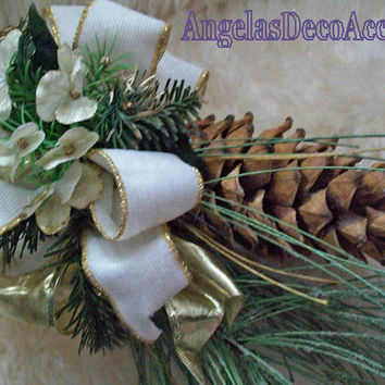 Holiday Mistletoe Cone, Silk Floral, Winter Accent, Victorian Decor, Neutral Colors, Faux Iced Foliage, Jumbo Pine Cone, Ivory Gold Greens