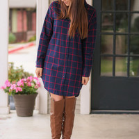 Plaid Flannel Shirt Dress - Navy and Red