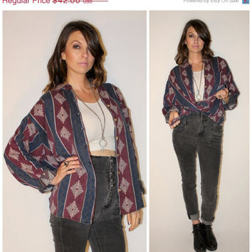 Vintage GRUNGE Revival Shirt, TRIBAL Unisex Knit Button Down, Southwestern Navajo Worn In Oversized Top