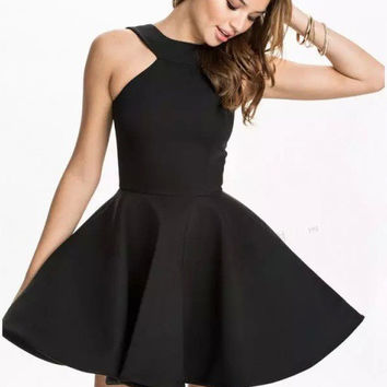 Halter Sleeveless Mini Skater Dress