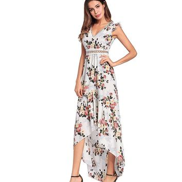 BILIKE Elegant Backless Floral Maxi Dress High Low Sexy Cocktail Party Dress