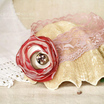 Pink flowerheadband, Rose blush silk flower, Pastel pink headpiece, Baby girl photo prop, Lace hairband, Mauve Hairpiece, Gift for Girl