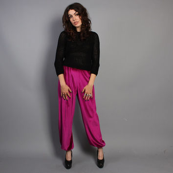 80s High Waist HAREM PANTS / Magenta VELVET Crop Trousers, s-m