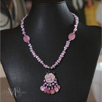 Lavender Freshwater Pearls Wirewrapped Rose Pendant Necklace